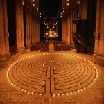 Candle-lit labyrinth at Chartres